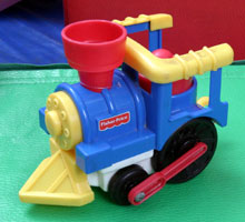 colorful toy train engine