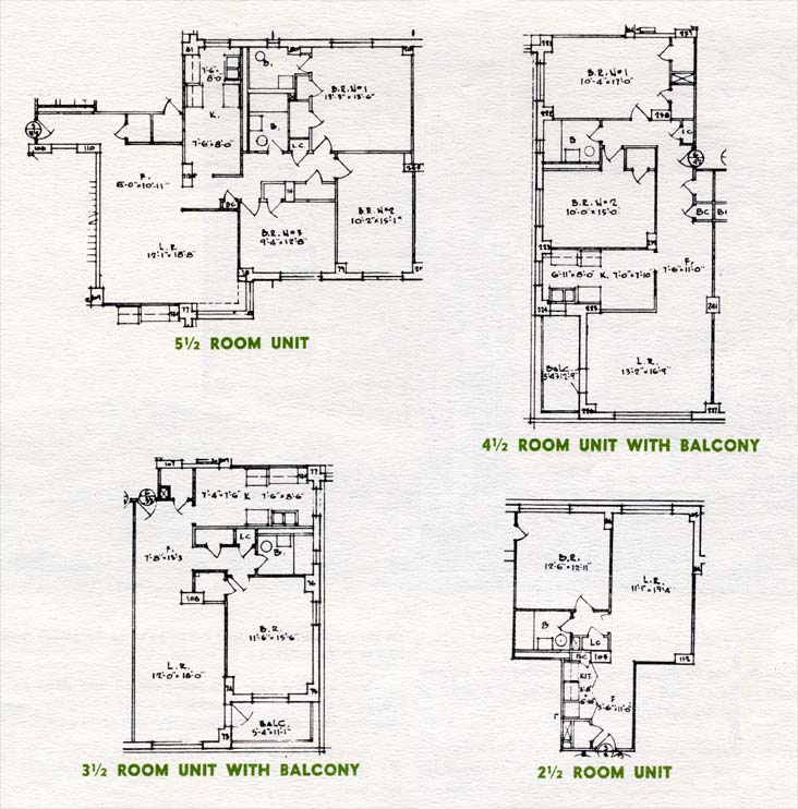 floor plan diagrams for units with 2 1 2 rooms 3 1 2 rooms 4 1 2