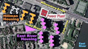 Aerial view showing power plant location